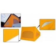 Westfalia-nostokaton kangas, kolmella ikkunalla, keltainen